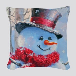 Snowman in the Woods Woven Throw Pillow