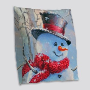 Snowman in the Woods Burlap Throw Pillow