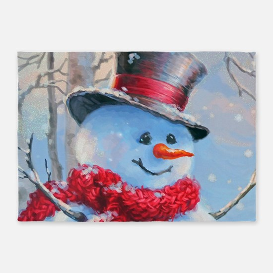 Snowman in the Woods 5'x7'Area Rug