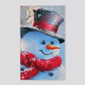 Snowman in the Woods Area Rug