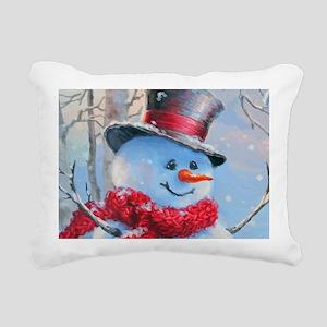 Snowman in the Woods Rectangular Canvas Pillow