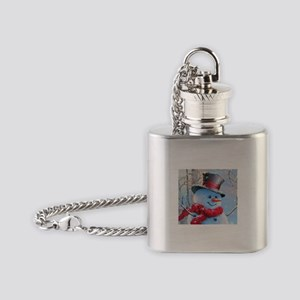 Snowman in the Woods Flask Necklace