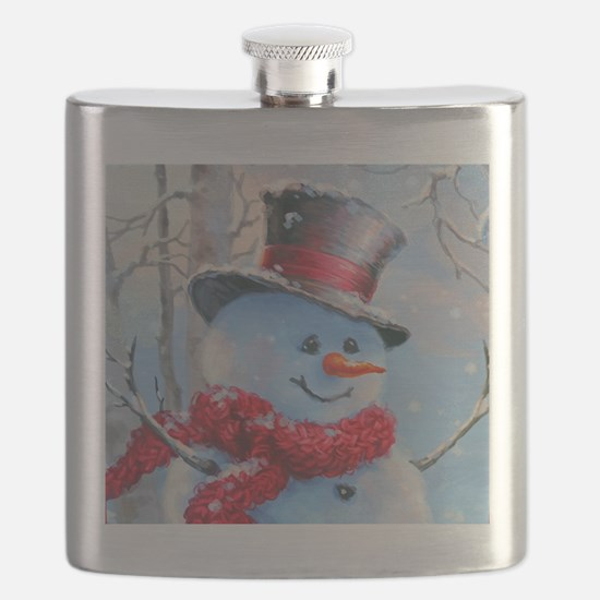 Snowman in the Woods Flask