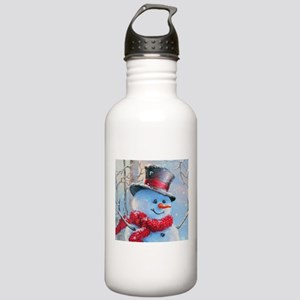 Snowman in the Woods Water Bottle