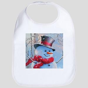 Snowman in the Woods Bib