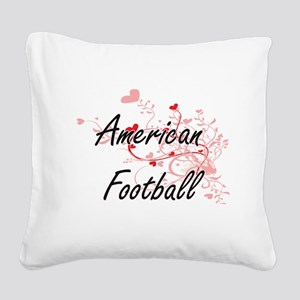 American Football Artistic De Square Canvas Pillow
