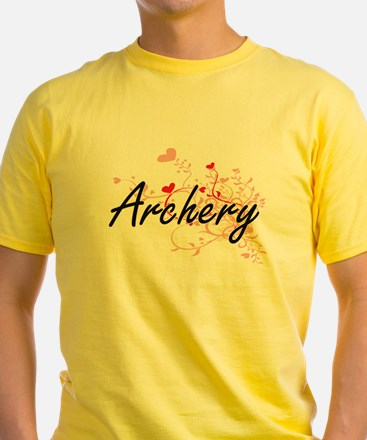 Archery Artistic Design with Hearts T-Shirt