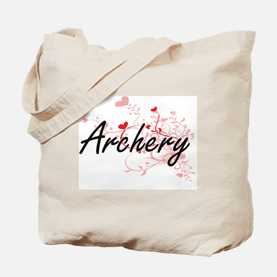 Archery Artistic Design with Hearts Tote Bag