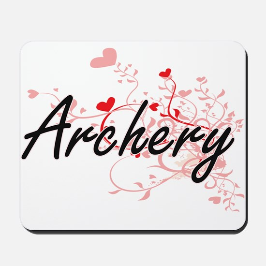 Archery Artistic Design with Hearts Mousepad