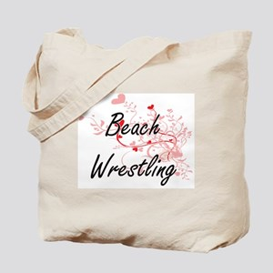 Beach Wrestling Artistic Design with Hear Tote Bag
