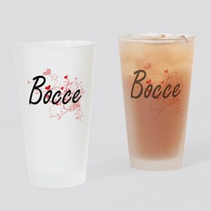 Bocce Artistic Design with Hearts Drinking Glass