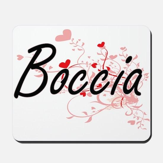 Boccia Artistic Design with Hearts Mousepad