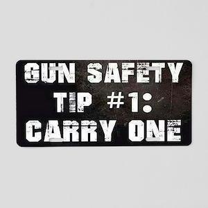 GUN SAFETY TIP Aluminum License Plate