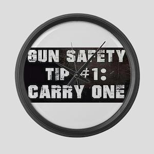 GUN SAFETY TIP Large Wall Clock