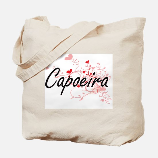 Capoeira Artistic Design with Hearts Tote Bag