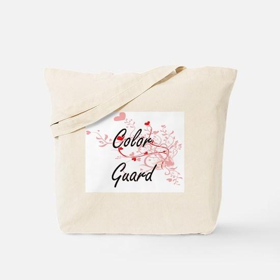 Color Guard Artistic Design with Hearts Tote Bag