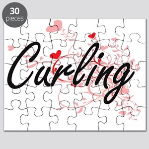 Curling Artistic Design with Hearts Puzzle