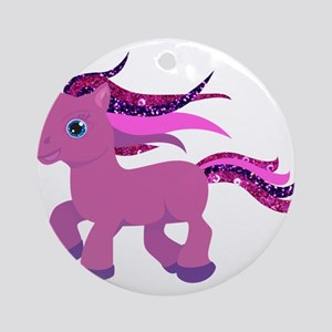 glitter pony Round Ornament