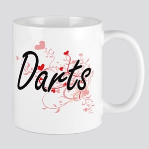 Darts Artistic Design with Hearts Mugs