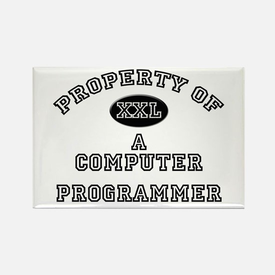 Property of a Computer Programmer Rectangle Magnet