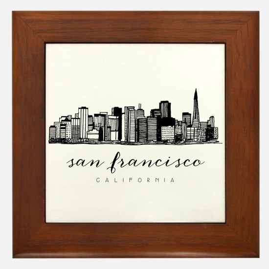 San Francisco Skyline Framed Tile