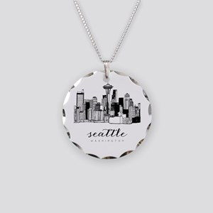 Seattle Skyline Necklace Circle Charm