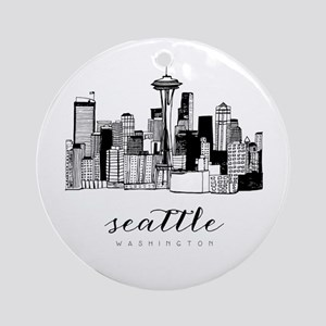 Seattle Skyline Round Ornament