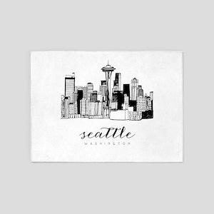 Seattle Skyline 5'x7'Area Rug