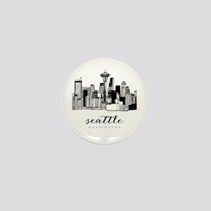 Seattle Skyline Mini Button