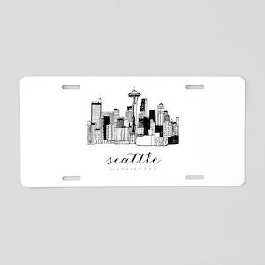 Seattle Skyline Aluminum License Plate