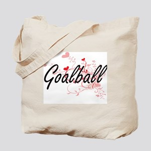 Goalball Artistic Design with Hearts Tote Bag