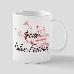 Incan Rules Football Artistic Design with Hea Mugs