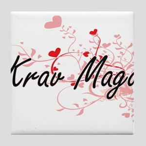 Krav Maga Artistic Design with Hearts Tile Coaster