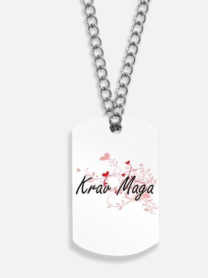 Krav Maga Artistic Design with Hearts Dog Tags