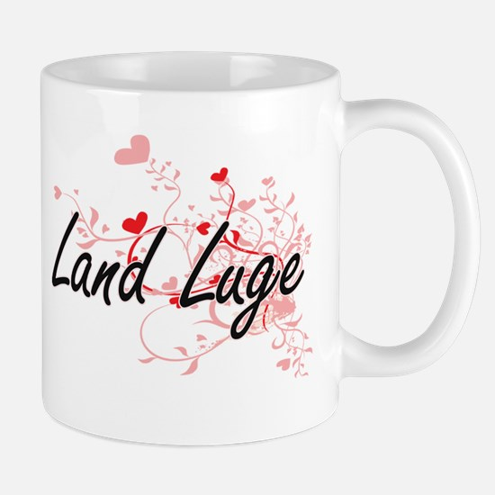 Land Luge Artistic Design with Hearts Mugs