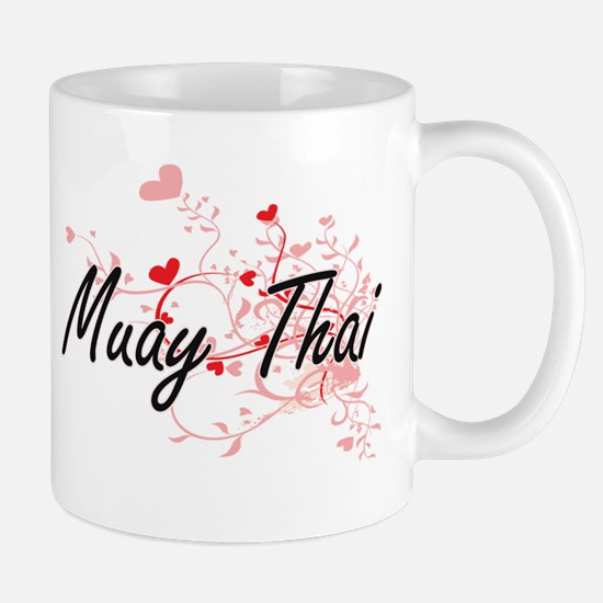 Muay Thai Artistic Design with Hearts Mugs