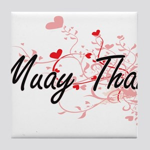 Muay Thai Artistic Design with Hearts Tile Coaster