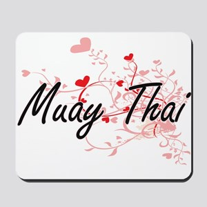 Muay Thai Artistic Design with Hearts Mousepad