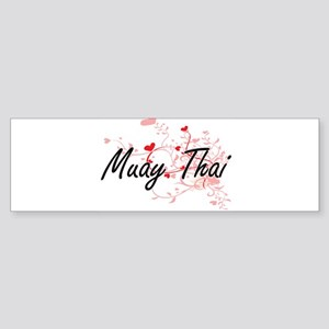 Muay Thai Artistic Design with Hear Bumper Sticker