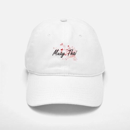 Muay Thai Artistic Design with Hearts Baseball Baseball Cap