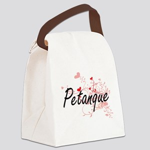 Petanque Artistic Design with Hea Canvas Lunch Bag