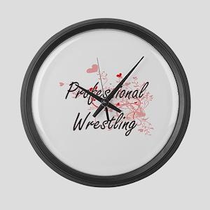 Professional Wrestling Artistic D Large Wall Clock
