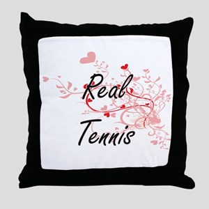 Real Tennis Artistic Design with Hear Throw Pillow