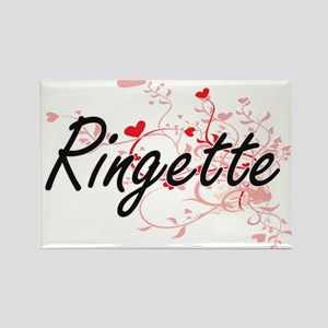 Ringette Artistic Design with Hearts Magnets