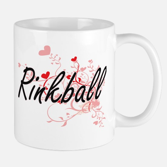 Rinkball Artistic Design with Hearts Mugs