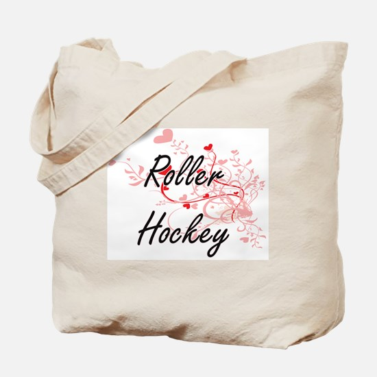 Roller Hockey Artistic Design with Hearts Tote Bag
