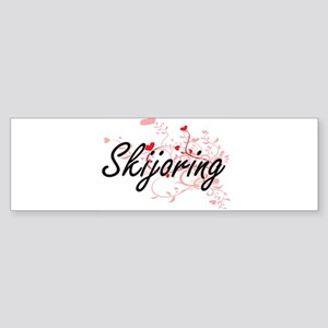 Skijoring Artistic Design with Hear Bumper Sticker