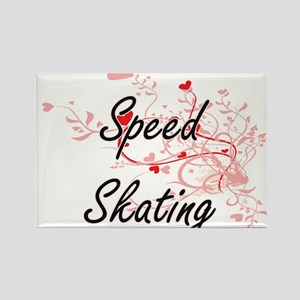 Speed Skating Artistic Design with Hearts Magnets