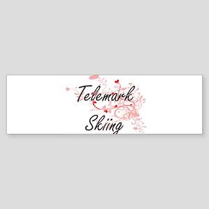 Telemark Skiing Artistic Design wit Bumper Sticker