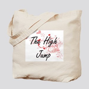 The High Jump Artistic Design with Hearts Tote Bag